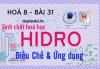 Tính chất hoá học của Hidro (H2), ứng dụng của Hidro và bài tập - hoá 8 bài 31